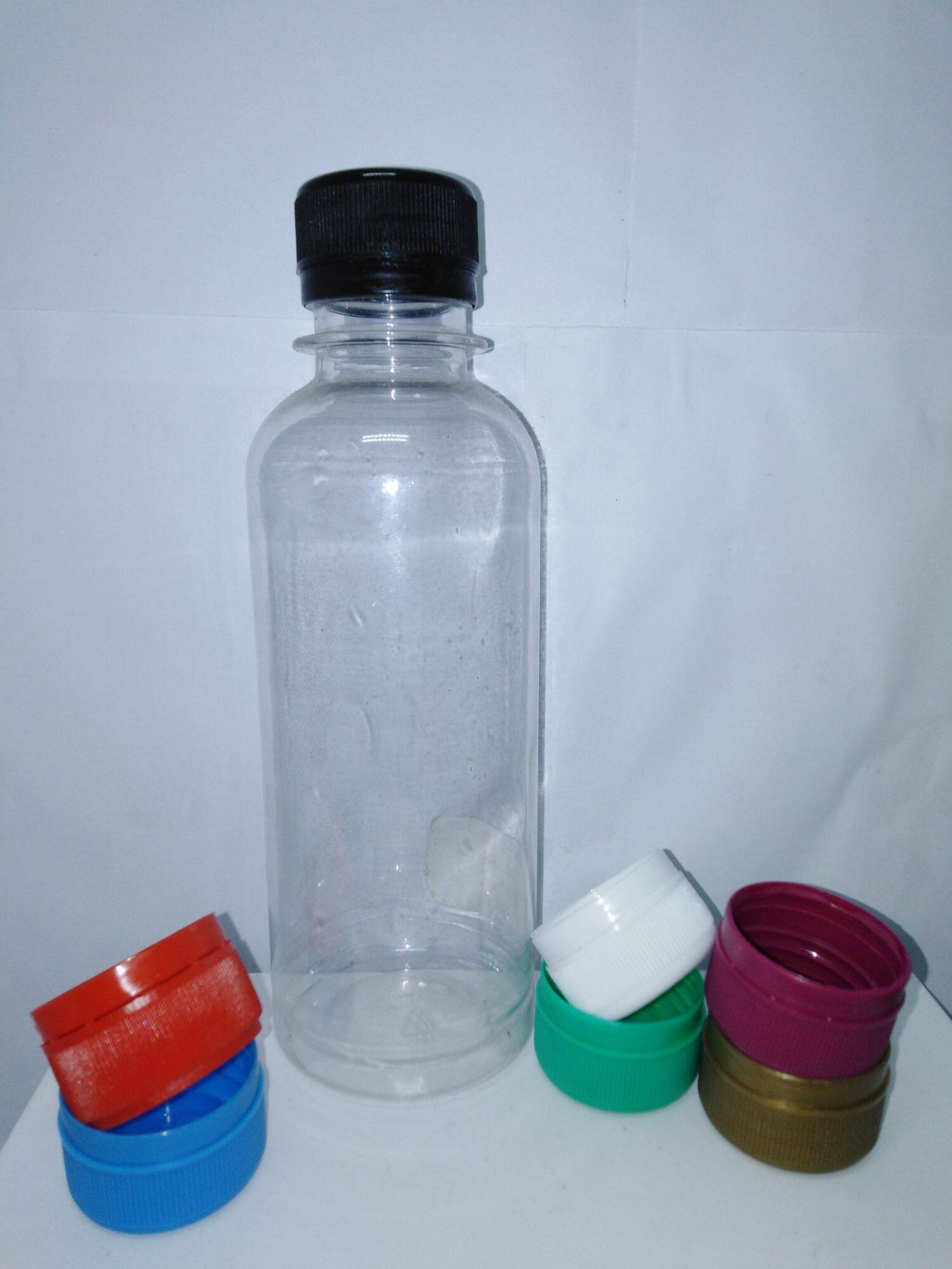 50pc of 250ml clear plastic bottle with colorful caps