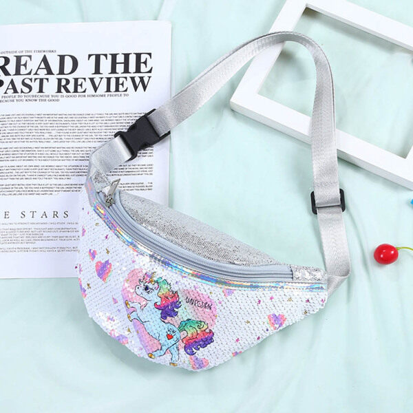 Giá bán Fanny Pack For Kids Girls Glitter Sequin Unicorn Waist Bag With Adjustable Belt For Children Travel Hiking Running Camping Sport
