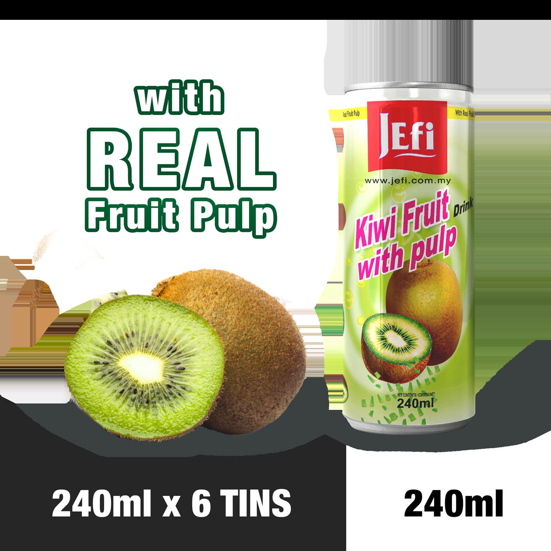 JEFI Kiwifruit Drink with Real Fruit Pulp (240ml x 6tins)