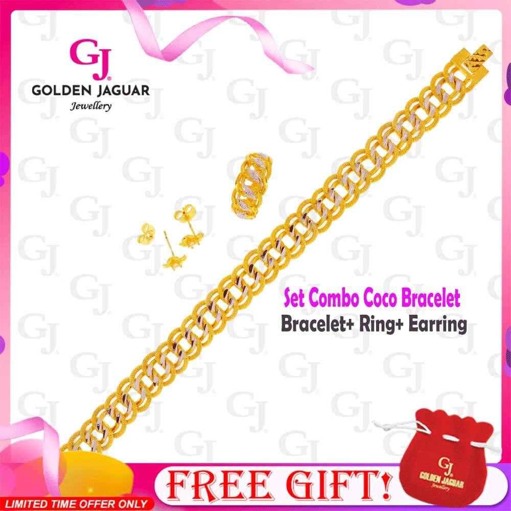 GJ Jewellery Emas Korea 24k Bracelet Combo Set Coco Viral - Bracelet Ring Earring Premium Set