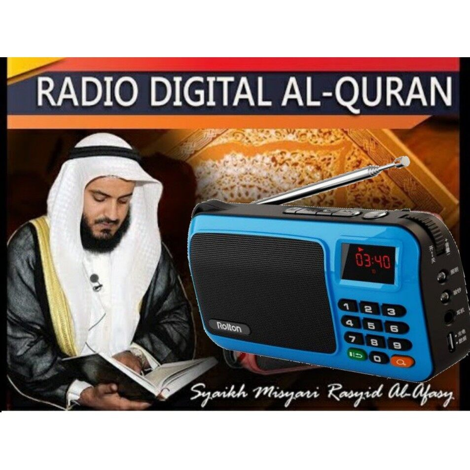 [Blue] Rolton W405 Rechargeable Digital FM AM Portable Pocket Radio Al-Quran With USB TF Card