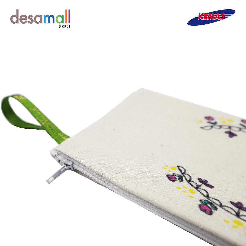 LIZNIM KRAF Beg Pensel Belacu Lukisan Tangan Design Floral (12cm X 20.5cm)
