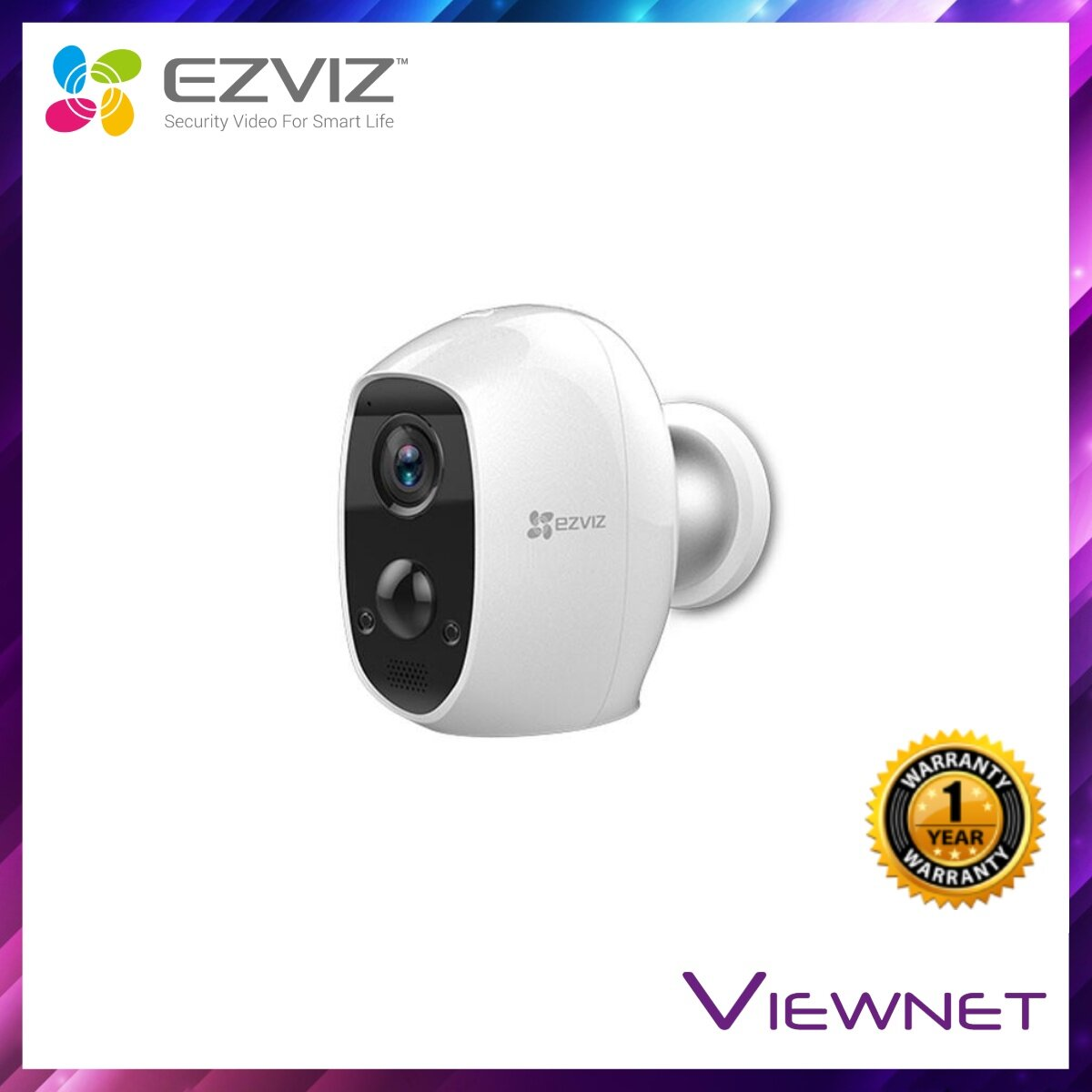 Ezviz C3A 1080P Wire-Free Full HD IP Camera (CS-C3A-A0-1C2WPMFBR), 126° Degree Outdoor, IP65, 2.8MM,  *MAX 128GB TF*