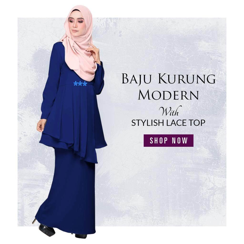 Harga KM Fashion Baju Kurung Modern With Stylish Lace Top Terkini
