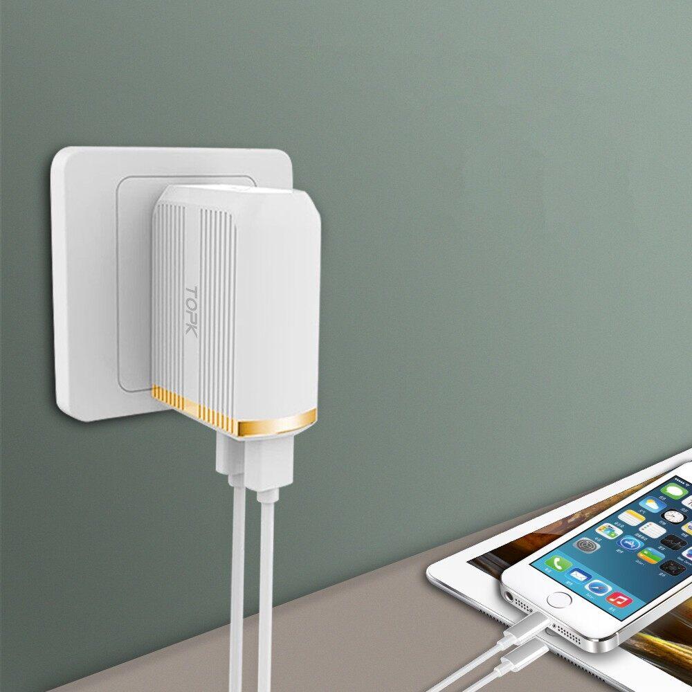 Chargers - TOPK C2502Q QC3.0 30W LED Light Dual USB Ports Charger EU US UK Adapter - Cables