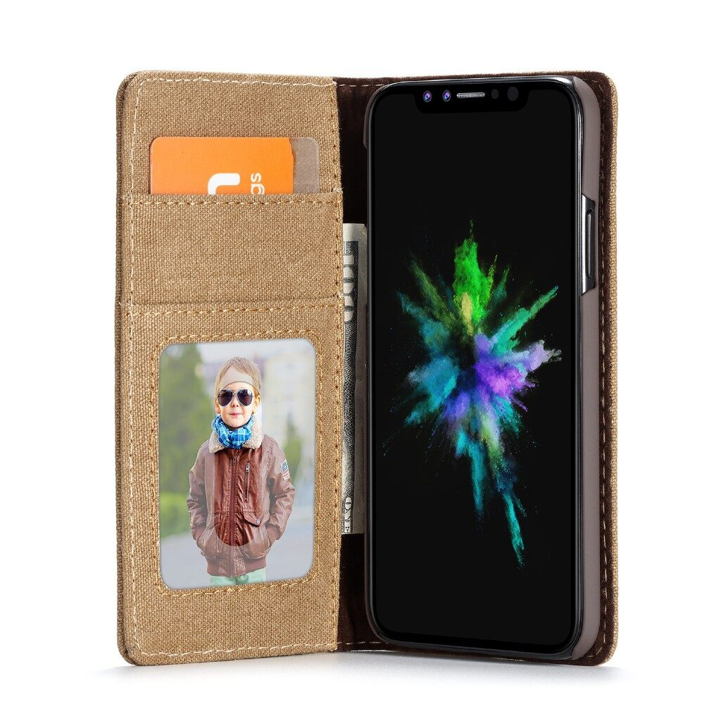 iPh Soft Cover - Caseme Protective Case For iPh XS Max Canvas Flip Bracket Wallet Cover - BROWN / BLUE / BLACK