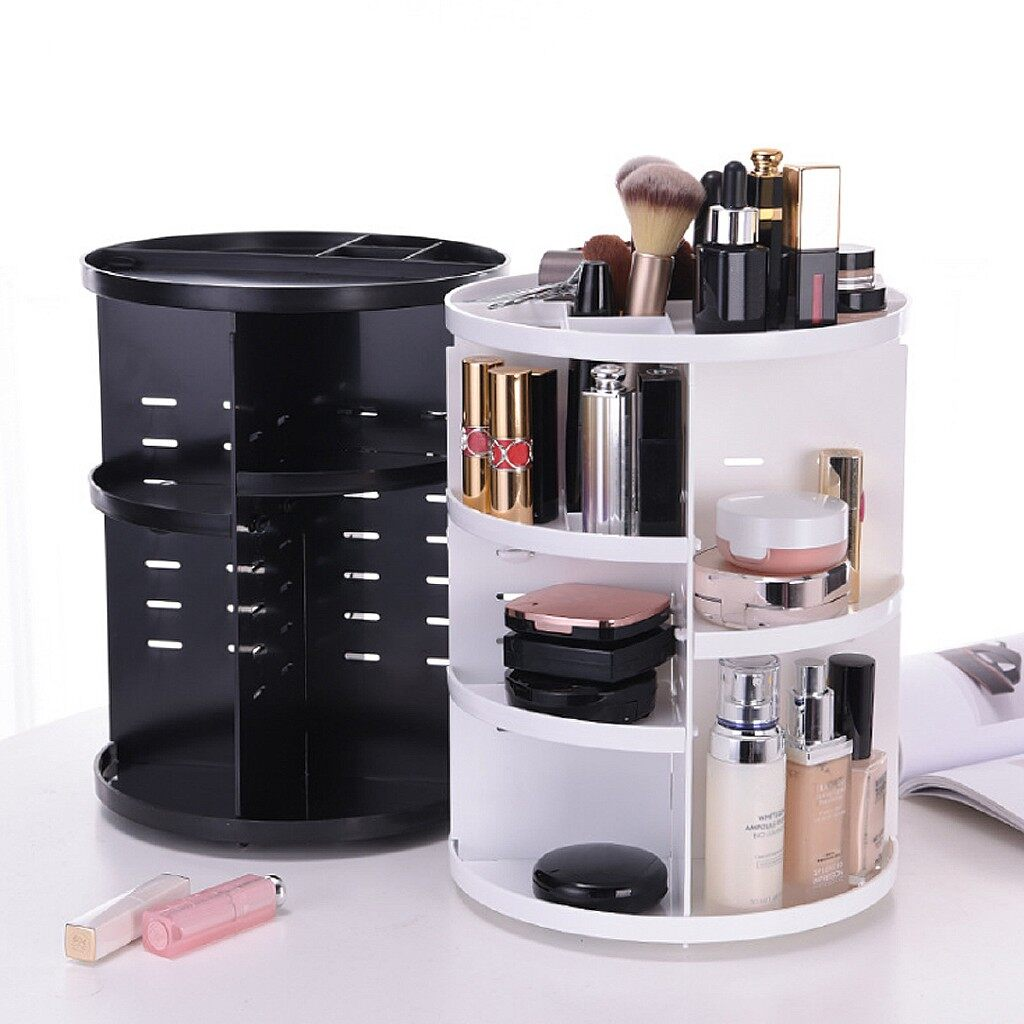 Mobile Cable & Chargers - 360 Rotating Cosmetic Organizer Makeup Desktop Home Office Storage Box - WHITE / BLACK