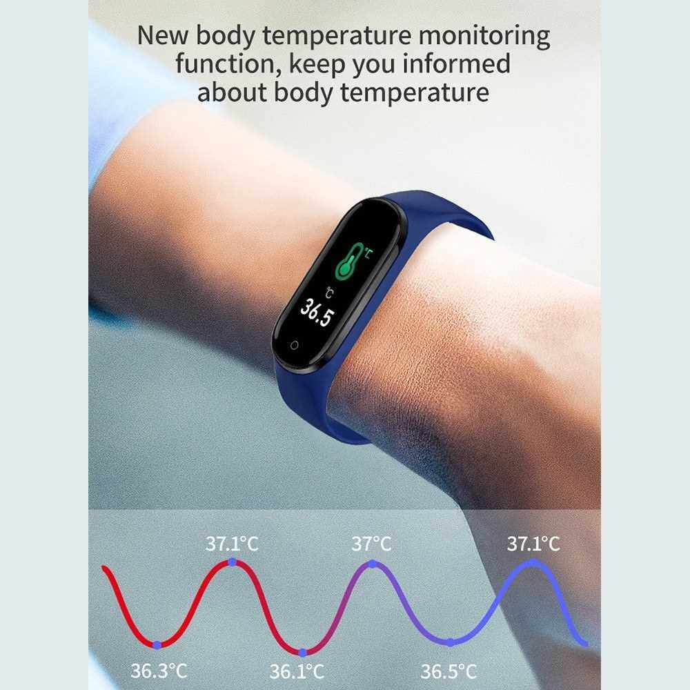 M4 Smart Band Sports Tracker Fitness Bracelet Heart Rate Blood Pressure Sleep Monitor Body Temperature Measure Color Display (Blue)