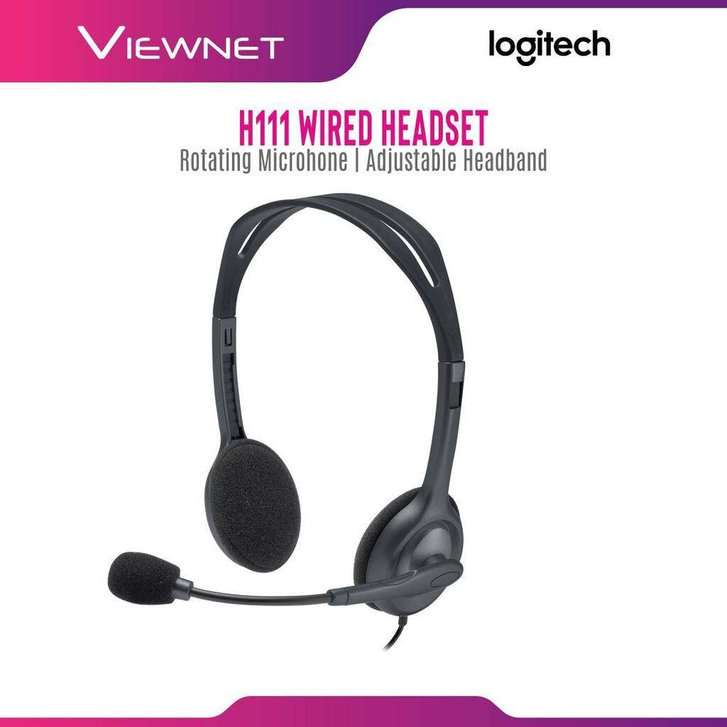 Logitech Wired Stereo Headset H111 with 3.5MM Audio Jack, Rotating Microphone, Adjustable Headband (981-000588)