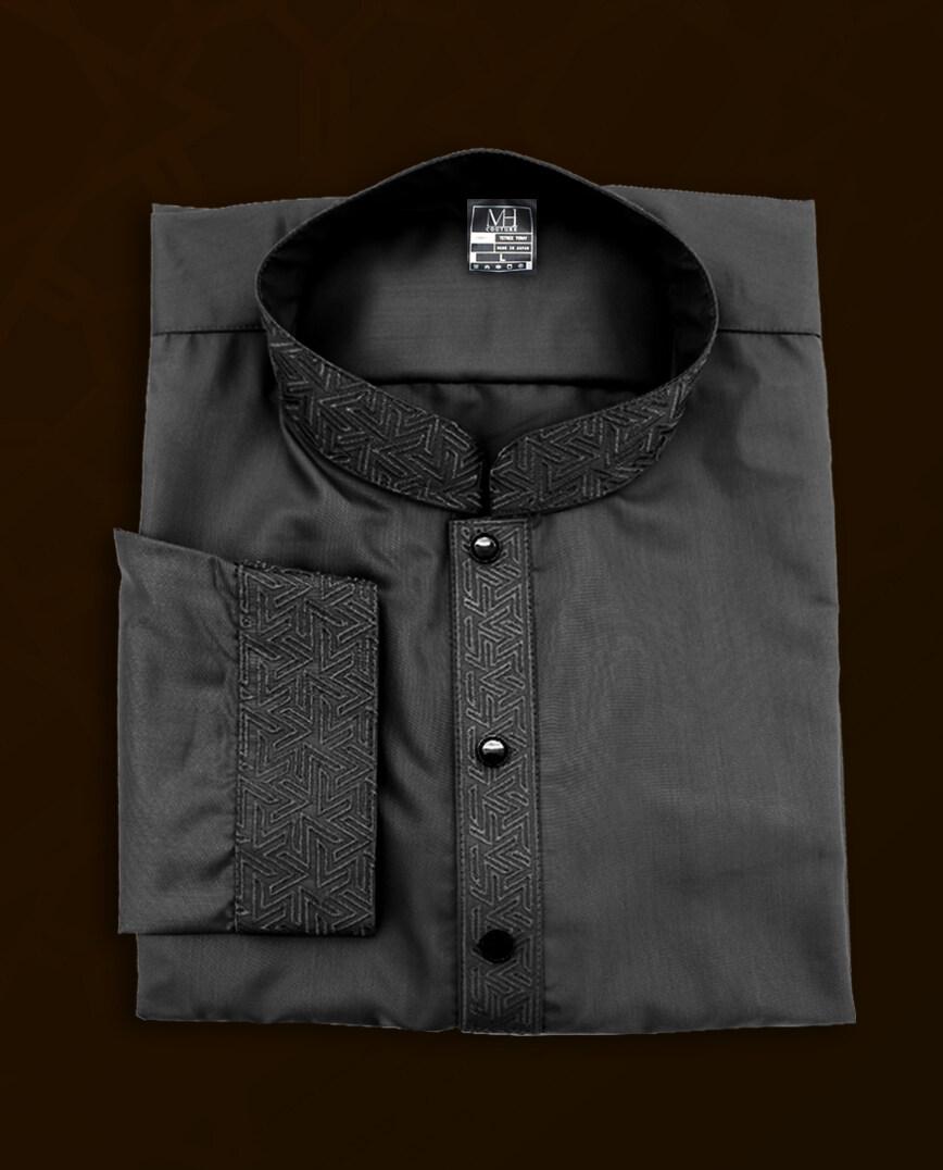 MH Couture Kurta Embroidery (DEEP BLACK) baju melayu
