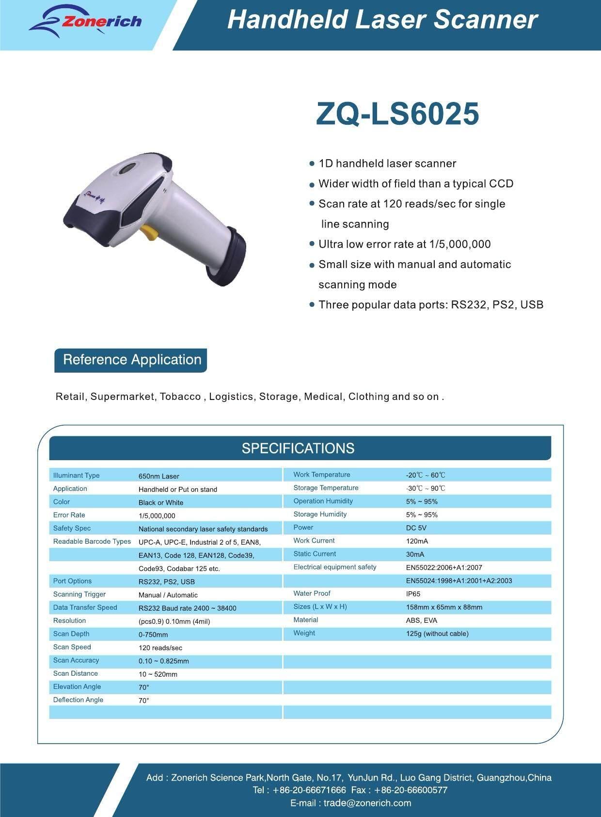 Handheld laser Scanner BarCode ZQ-LS6025