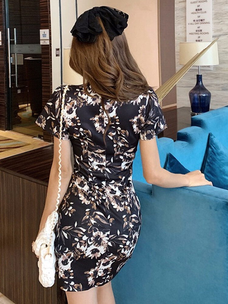 (PRE ORDER) WOMEN GEGE SEXY RETRO PRINTING CHEONGSAM SHORT SKIRT DRESS