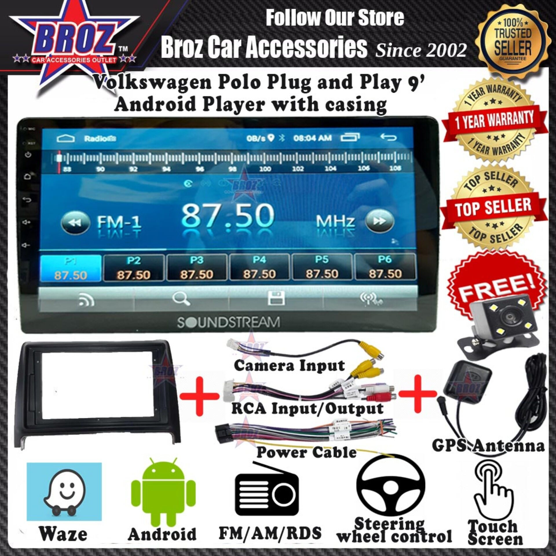 Volkswagen Polo  9  Android Player 1GB + 16G 8.1 Universal Car Multimedia Head Unit Radio built in GPS Bluetooth WIFI USB AUX Touch Screen + Camera