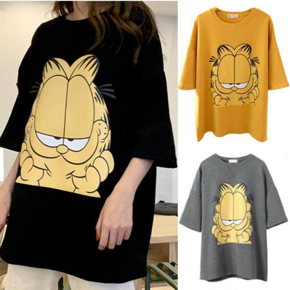 Ready Stock Women Korean cartoon cat plus size cotton loose short sleeve Tshirt