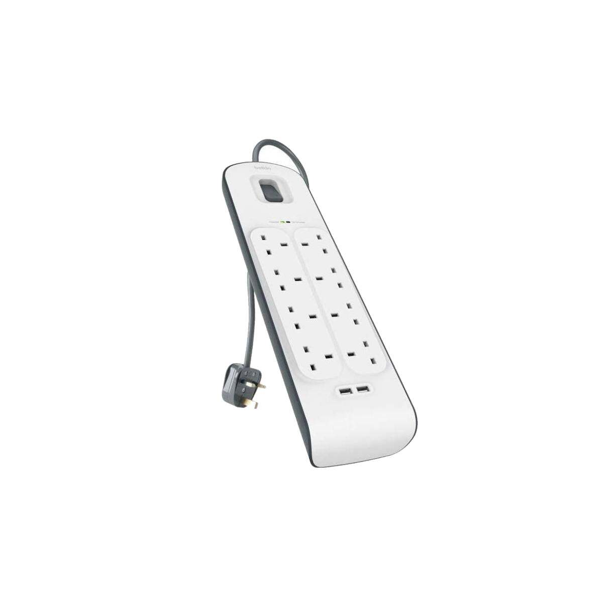 Belkin BSV804SA2M Extension Socket Surge Protector 8-Plugs With 2-USB 2M