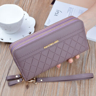 Double Layer Clutch Bag for Women New 2021 Fashion Pu Small Phone Bag Large Capacity Card Holder Long Wallet thumbnail