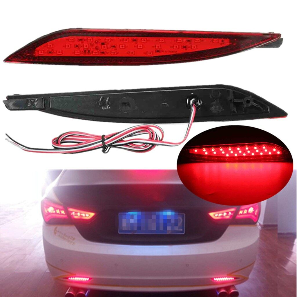 Car Lights - 2x 25 LED Lens Rear Bumper Reflector Brake Light for Hyundai Sonata 8th 2011-14 - Replacement Parts