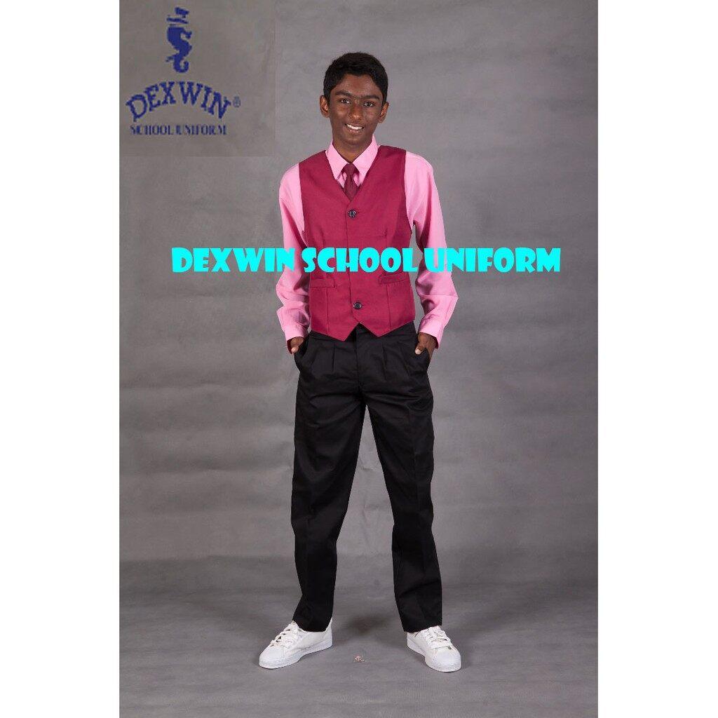 vest meroon kain licin pakaian pengawas sekolah rendah sekolah menengah