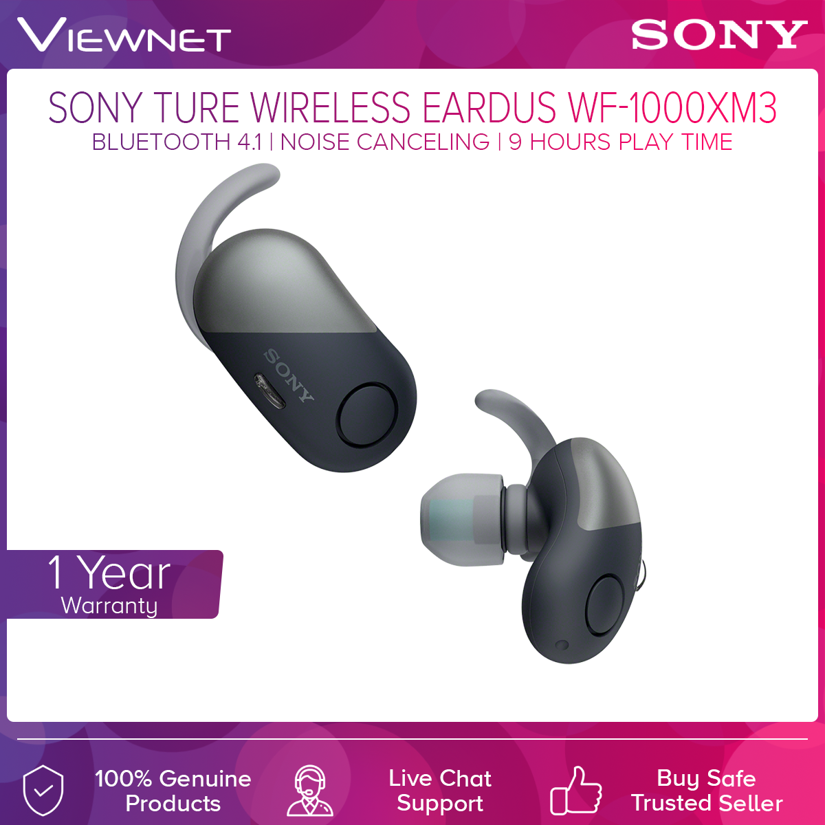 Sony WF-SP700N EXTRA BASS IPX4 Waterproof True Wireless Bluetooth Noise Cancelling Sports In-ear Headphones with Charging Case (Black/White/Yellow/Pink) NFC, Hands-free Calling, Voice Assistant Compatible, Ambient Sound Mode, Up to 3 Hours Battery Life