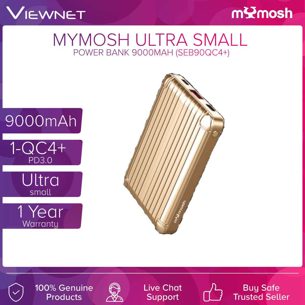 Mymosh (SEB90QC4+) 9000mAh 1-QC4+ PD3.0 Ultra Small Power Bank Gold / Green / Silver/ Black
