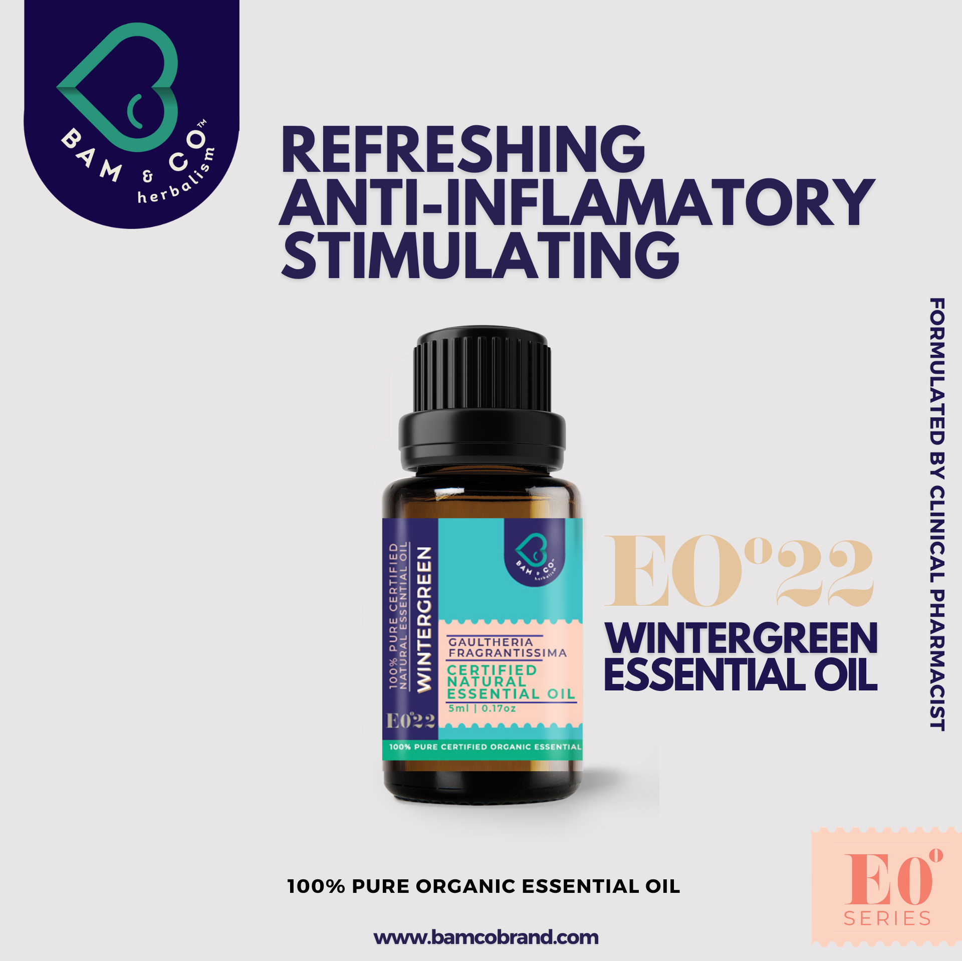 BAM & CO. WINTERGREEN CERTIFIED PURE ORGANIC ESSENTIAL OIL 5ML 10ML