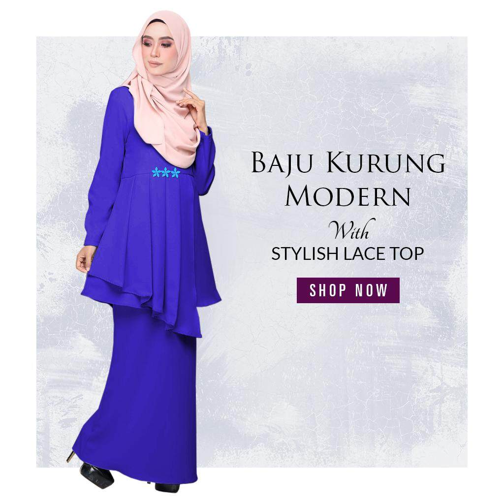 Harga KM Fashion Baju Kurung Modern With Stylish Lace Top This Month
