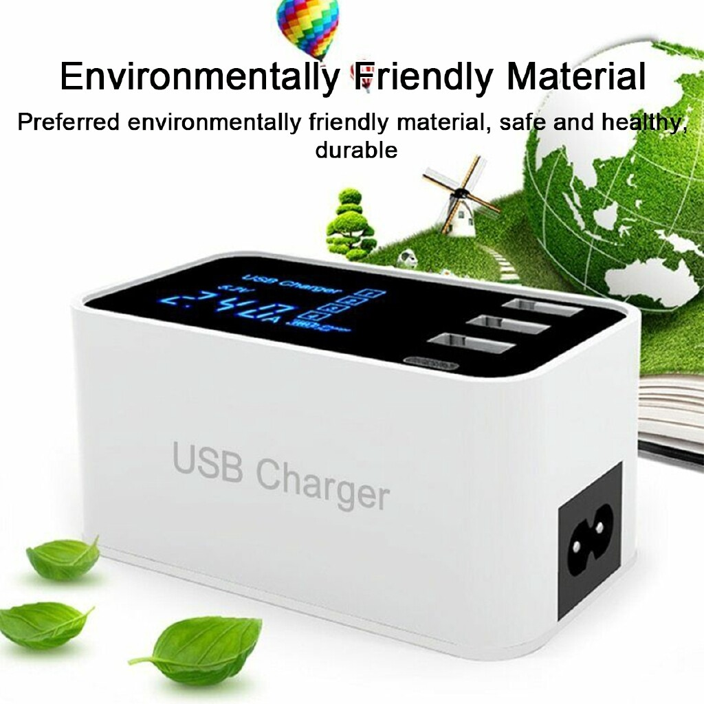 Chargers - Universal Phone Charging LCD Display Smart 4-Port USB Type-C Charger Adapter - UK