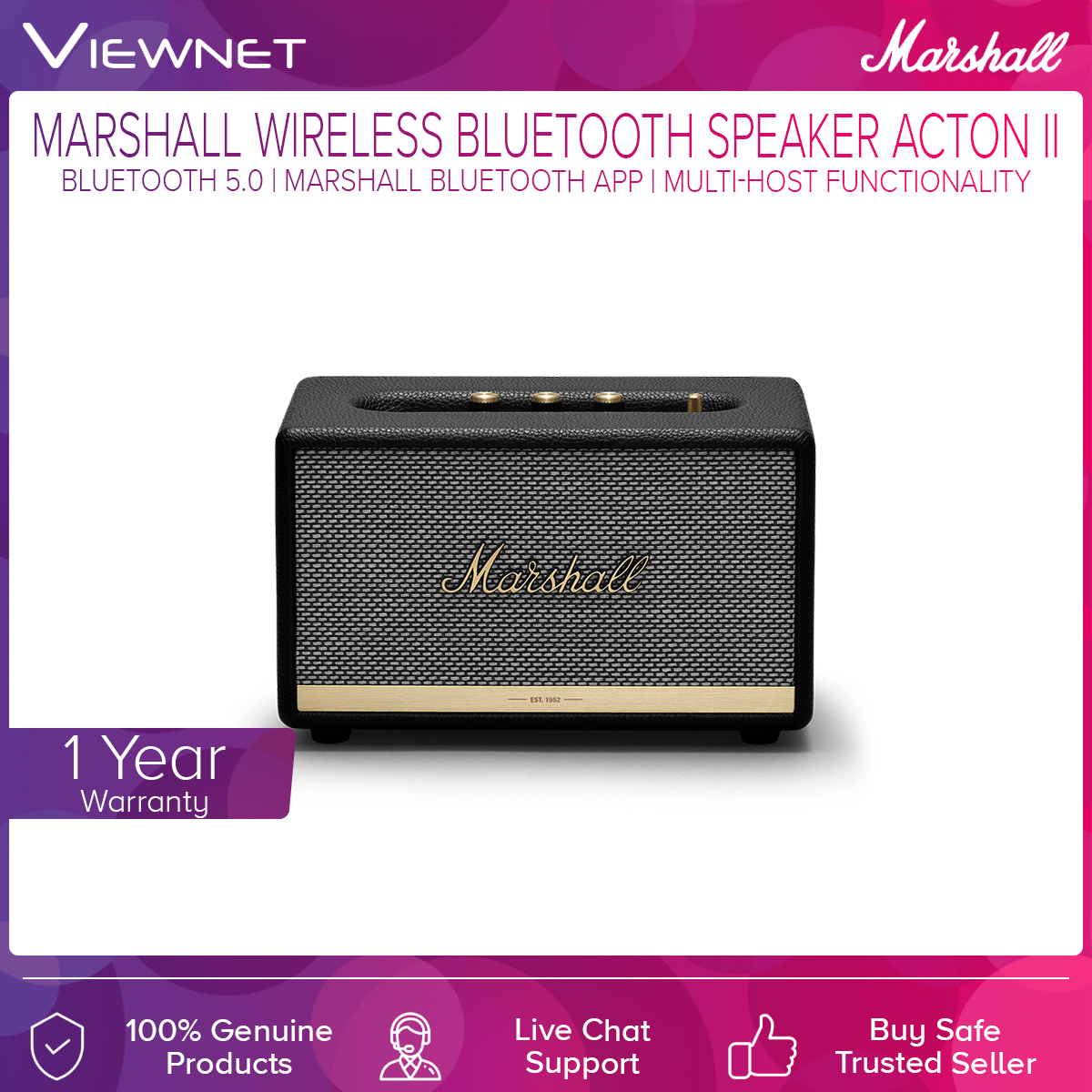 Marshall Acton II Bluetooth Speaker with Wireless Connect, Iconic Marshall design, Multi-host functionality, Marshall Bluetooth App
