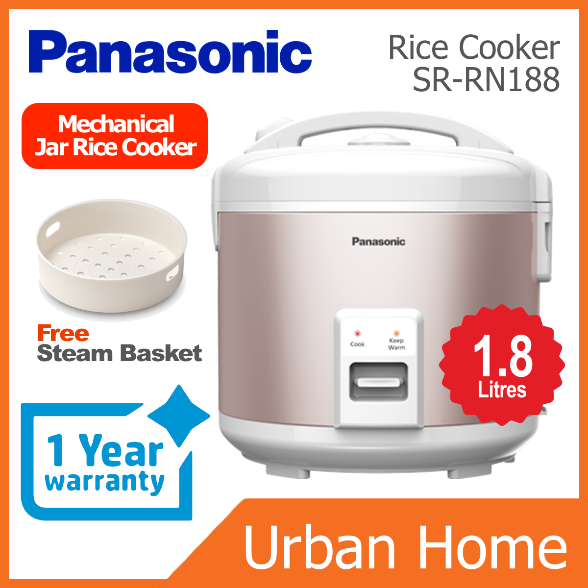 PANASONIC 1.8L Mechanical Jar Rice Cooker (SR-RN188/SR-RN188SSL/SR-RN188PEP/SRRN188/SRRN188SSL/SRRN188PEP)