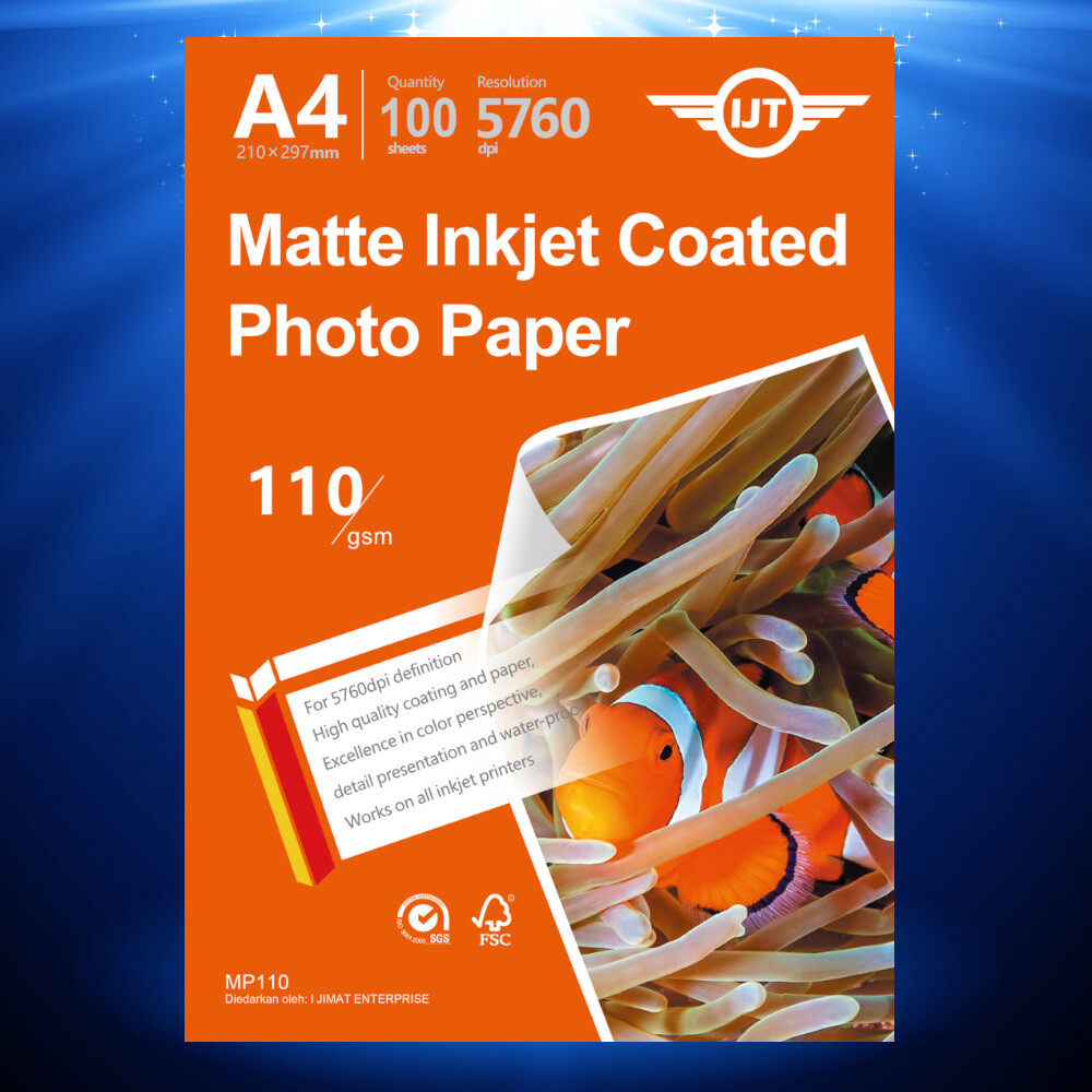 100's Matte Inkjet Coated Paper A4 Size 110g 110gsm (Each Pack 100 Sheets)