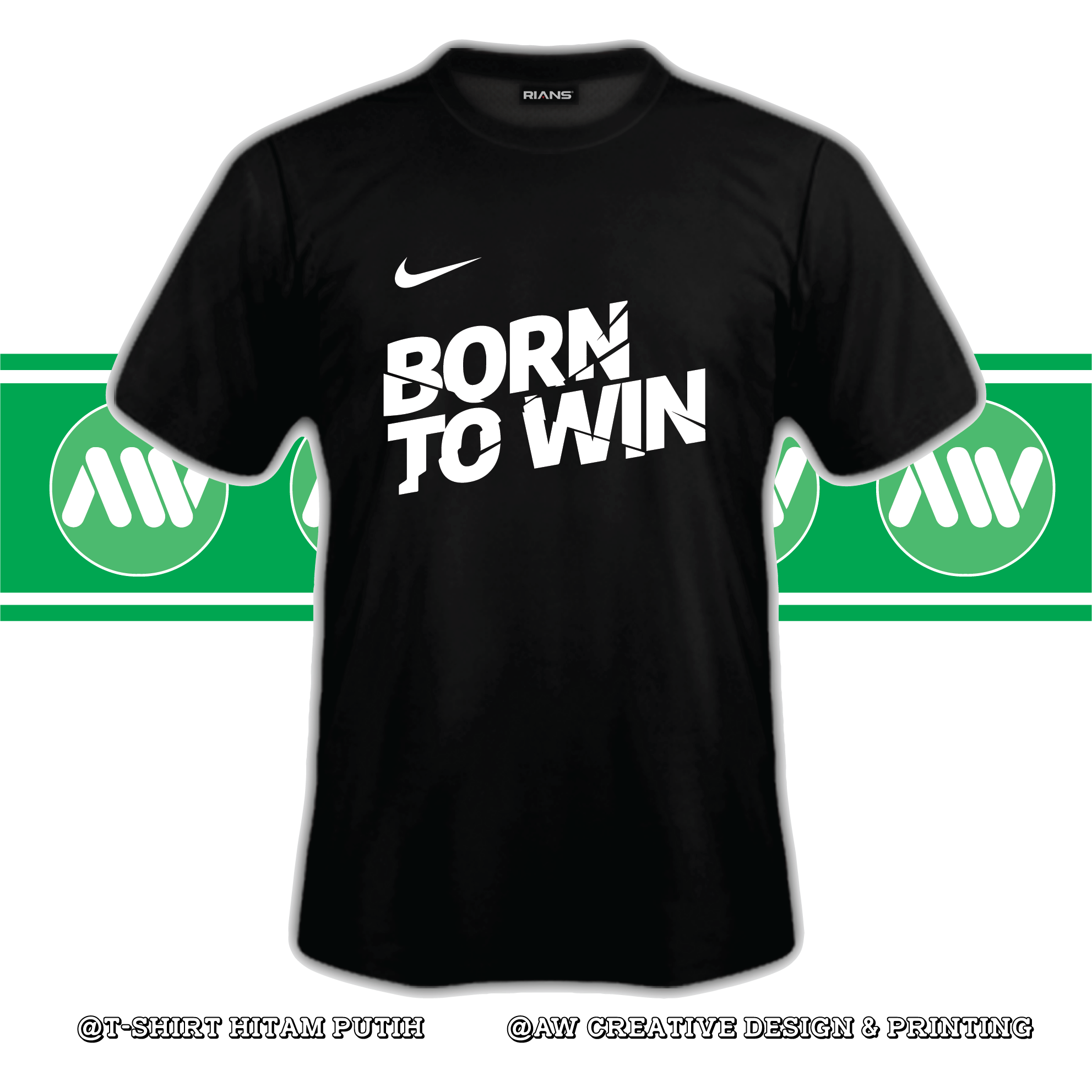 T-Shirt Born To Win 100% Cotton Baju Tshirt Black White Hitam Putih Bossku