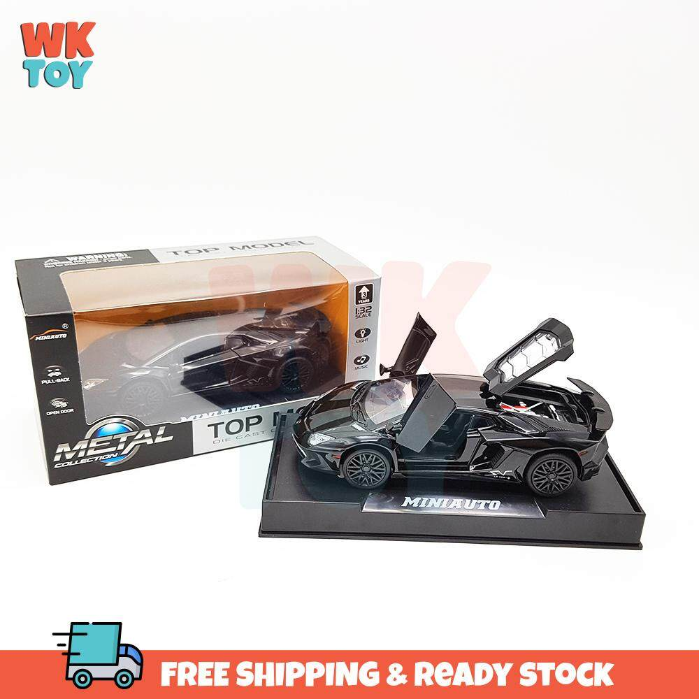 WK Lam-bo Lp750 Super Sport Car Alloy 1:32 Die Cast Model With Light & Sound Pull Back Car Gift
