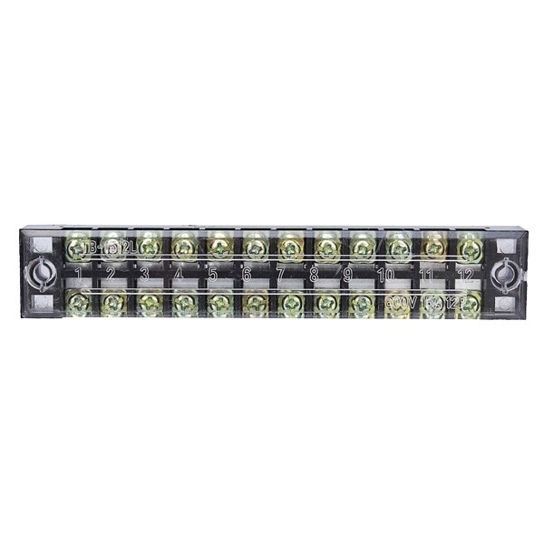 DIY Tools - Dual 12 Position 15A 600V Screw Terminal Strip Covered Barrier Block - Home Improvement
