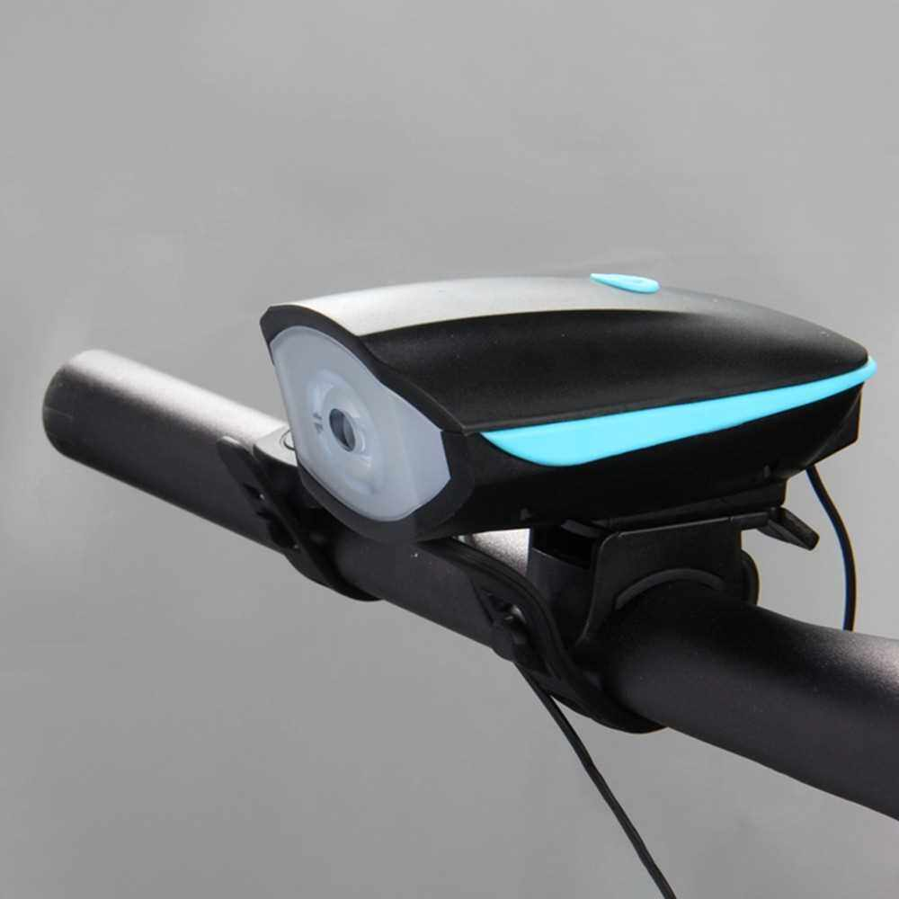 Bike Light with Loud Bike Horn 2in1, Rechargeable Bicycle Front Light Waterproof Cycling Bell Lights, Bicycle Light Front with 5 Modes Sound Siren,3 Lighting Modes,Blue (Blue)