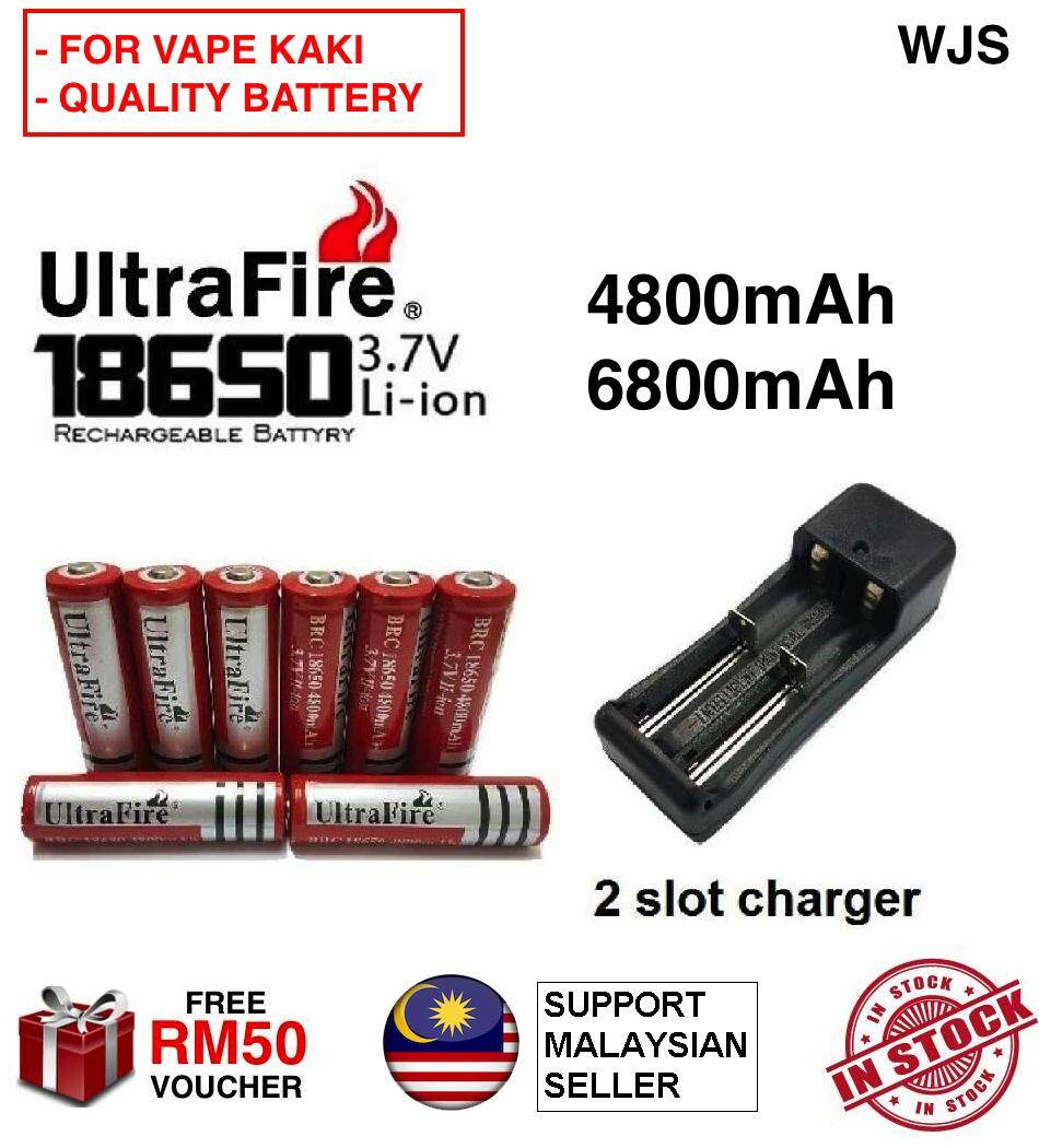 (UP TO 8 IN A SET) WJS 3.7V 18650 UltraFire Vape Battery Rechargeable Lithium Ion Battery Ultra Fire Rechargable Battery BRC 4800mAh 6800mAh [FREE RM 50 VOUCHER]