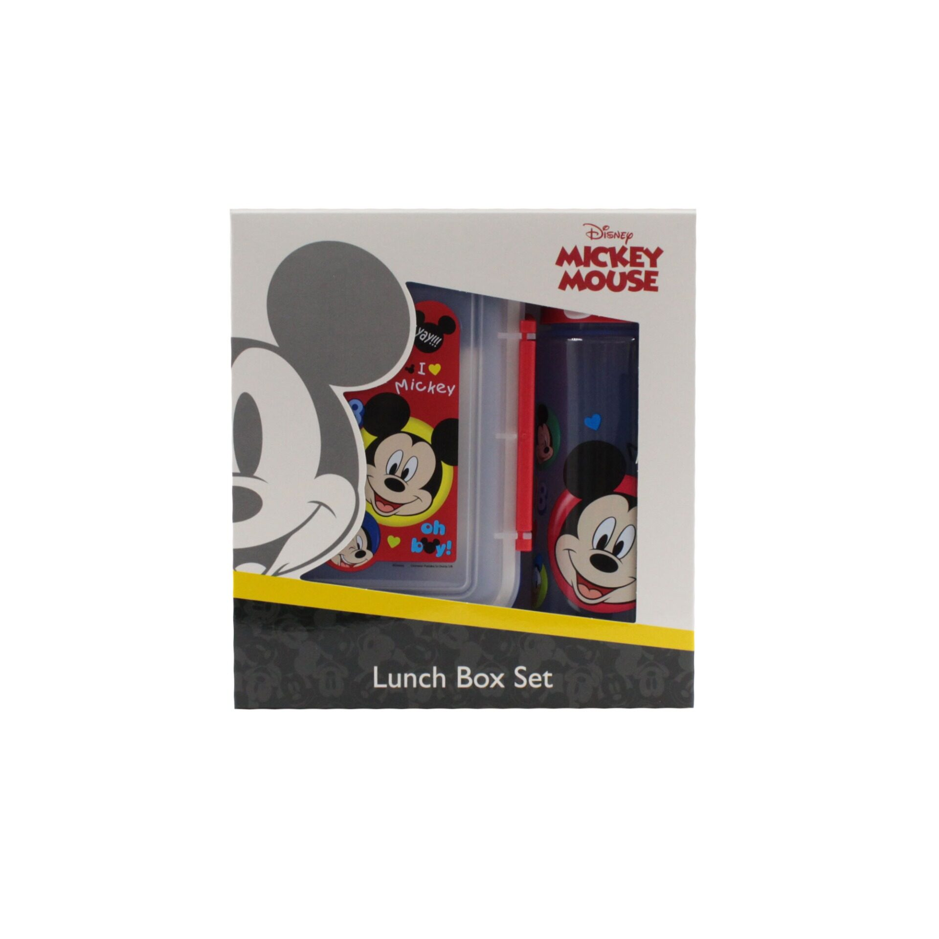 Disney Mickey & Donald 3 In 1 School Childrens Transparent Blue Lunch Box Set With Spoon & Drinking Tritan Bottle 500ml With Short Handle (BPA Free)
