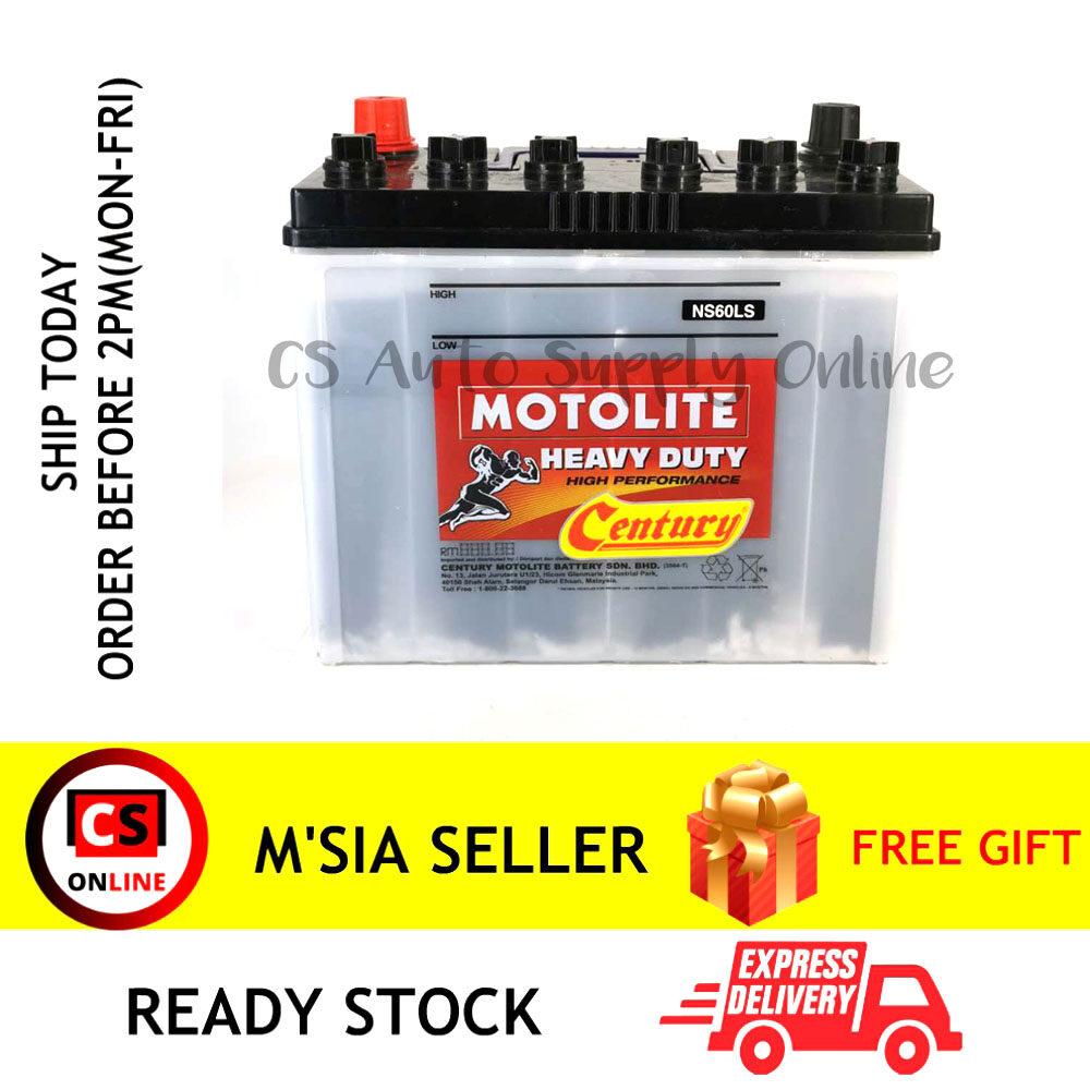 Century NS60LS NS60L Motolite Battery Wet NS60 NS60R for Proton Iswara, Waja, Toyota Vios, Altis, RAV, Honda CR-V, Honda Civic Ipoh area (100% Original)