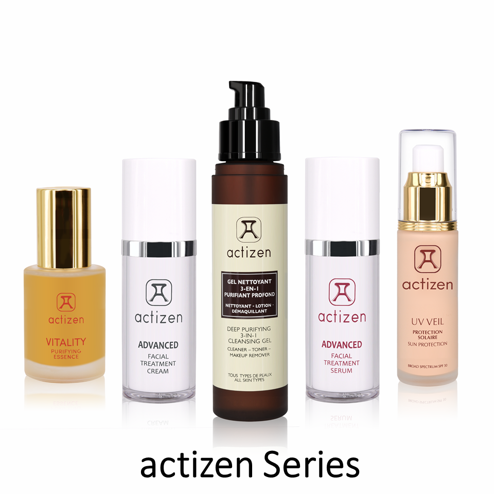 Actizen Skincare Facial Cleanser - Cleasing Gel, Serum, Treatment Cream, Vitality, Sun care 5in1 set