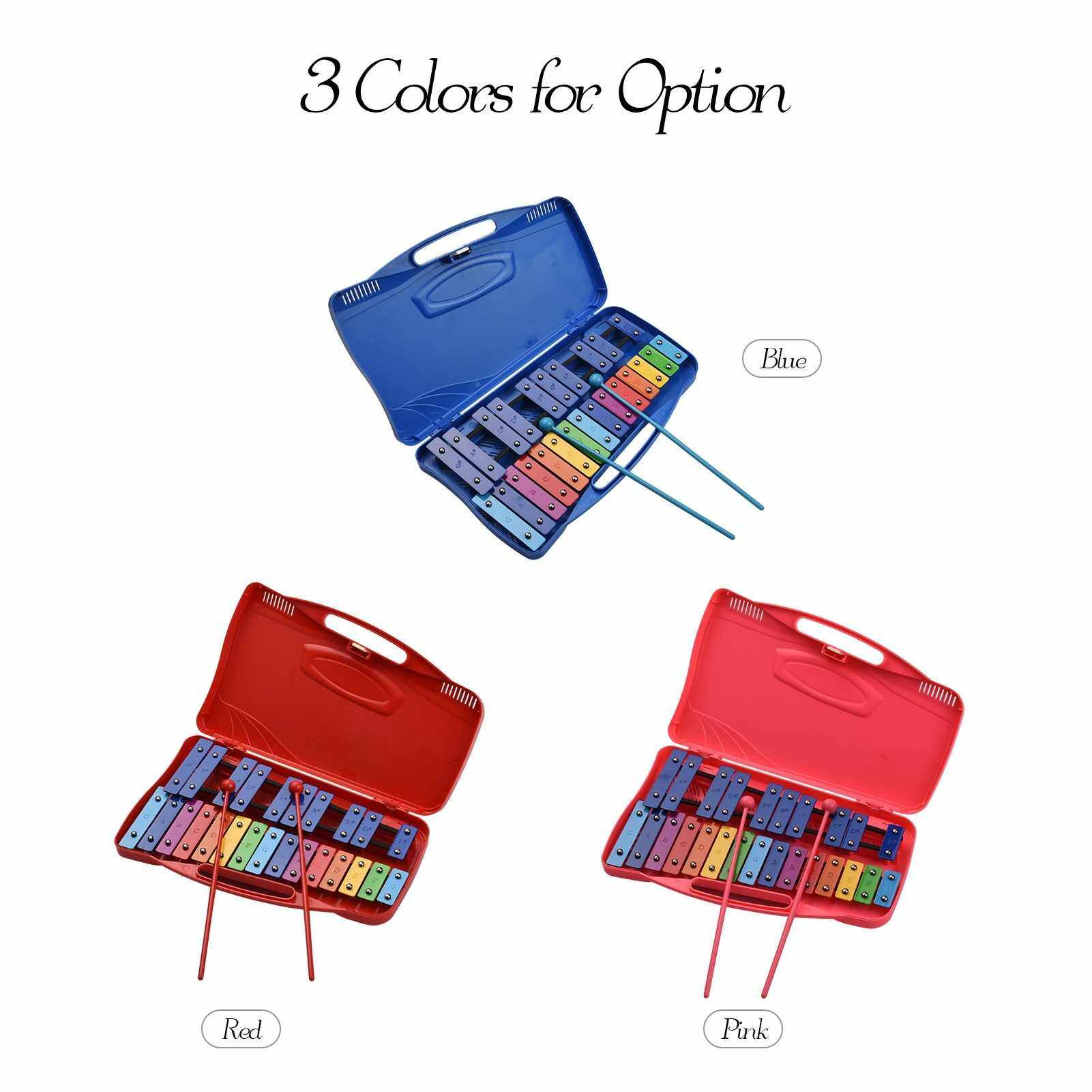 25 Notes Glockenspiel Xylophone Hand Knock Xylophone Percussion Rhythm Musical Educational Teaching Instrument Toy with Case 2 Mallets for Baby Kids Children (Blue)