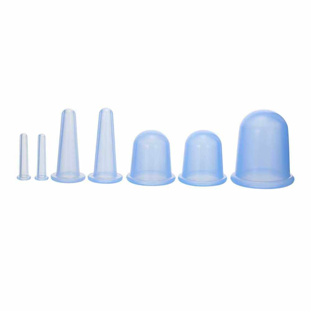 7pcs 4 sizes Silicone Massage Cup Facial Cupping Cup Vacuum Cupping Body Pain Relief Face Eye Care Treatment Manual Suction Cups (Blue)