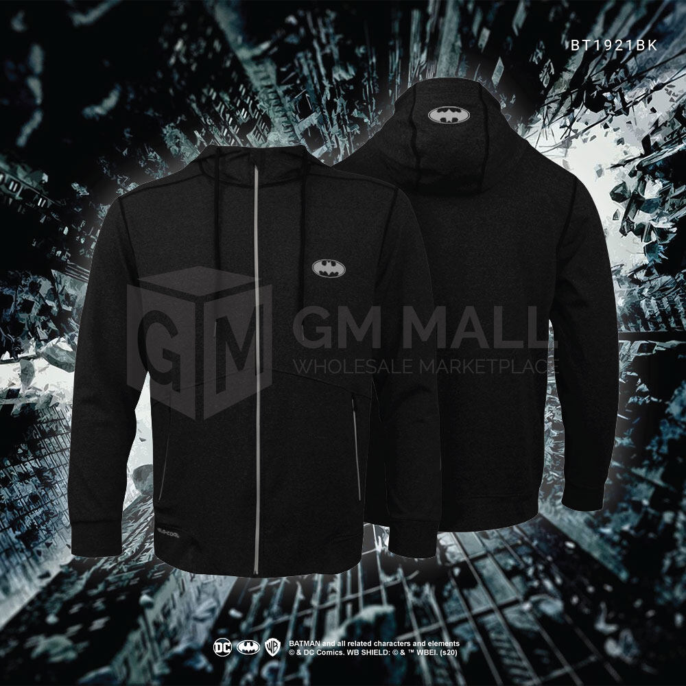 BATMAN DC Exclusive Sport Black Zip Jacket - UNISEX Casual Long Gym Jogging Running Sleeve Jacket Sports Hooded Tops [BT1921BK]