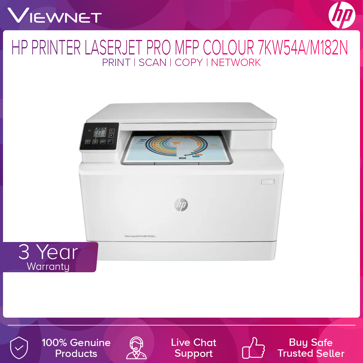 HP COLOR LASERJET PRO MFP M182N PRINT SCAN COPY NETWORK 3 Years Onsite Warranty with 1-to-1 Unit exchange **NEED TO ONLINE REGISTER**