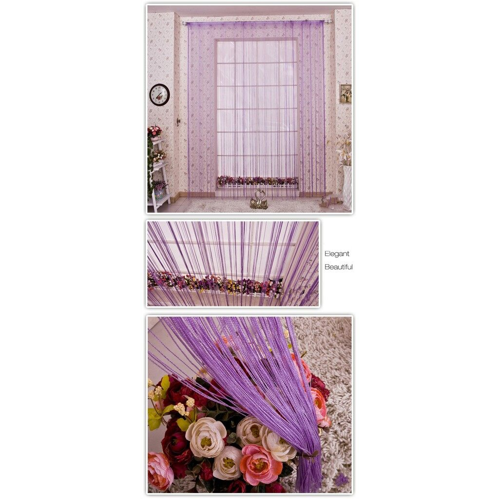 Curtains & Blinds - Honana 1mx2m String Curtains Door Window Panel Divider Curtaion Drape_3C - CHAMPAGNE / WINE RED / SKY BLUE / GREEN / ORANGE YELLOW / BLACK / SILVER GREY / COFFEE / PURPLE