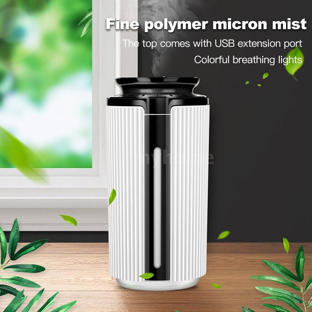Lighting - DC5V 3W 900ml Cool Mist Air Humidifier Essential Oil Diffuser 7 Color Changing Light for Office - BLACK & WHITE