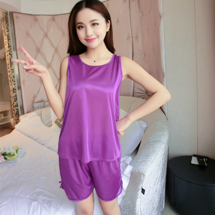 Bolster Store Sexy Lingerie Sleepwear Sleeveless Silk Pajamas Set of 2 Blouse + Pants #006