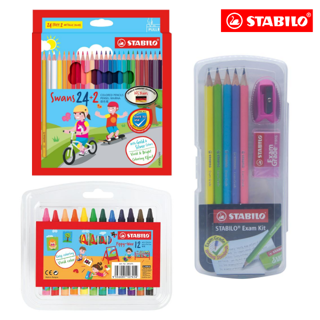 **SPECIAL PACK** STABILO® Swans Colored Pencils (Box of 26's) with Exam Grade 2B Writing Kit Set and Crayon Yippy-Wax
