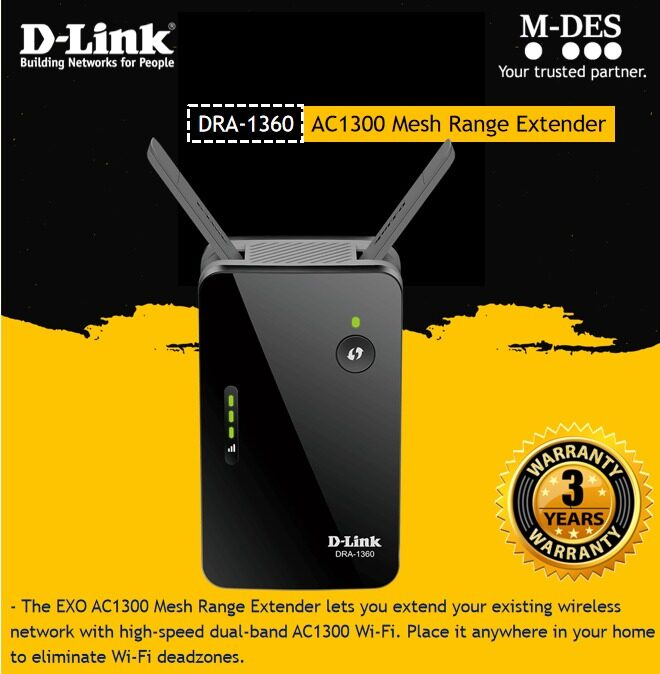 D-Link DRA-1360 AC1300 Gigabit Mesh Enabled Exo Wireless WiFi Range Extender Wi-Fi DLink Repeater / Booster