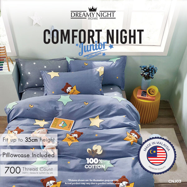 [100% Pure Cotton]Dreamynight Home Comfort Night Junior High Quality Fitted Mattress Cover Bed Sheets Set 100% Cotton King/Queen/Super Single 700TC Hotel Collection Dreamy night Comfortnight