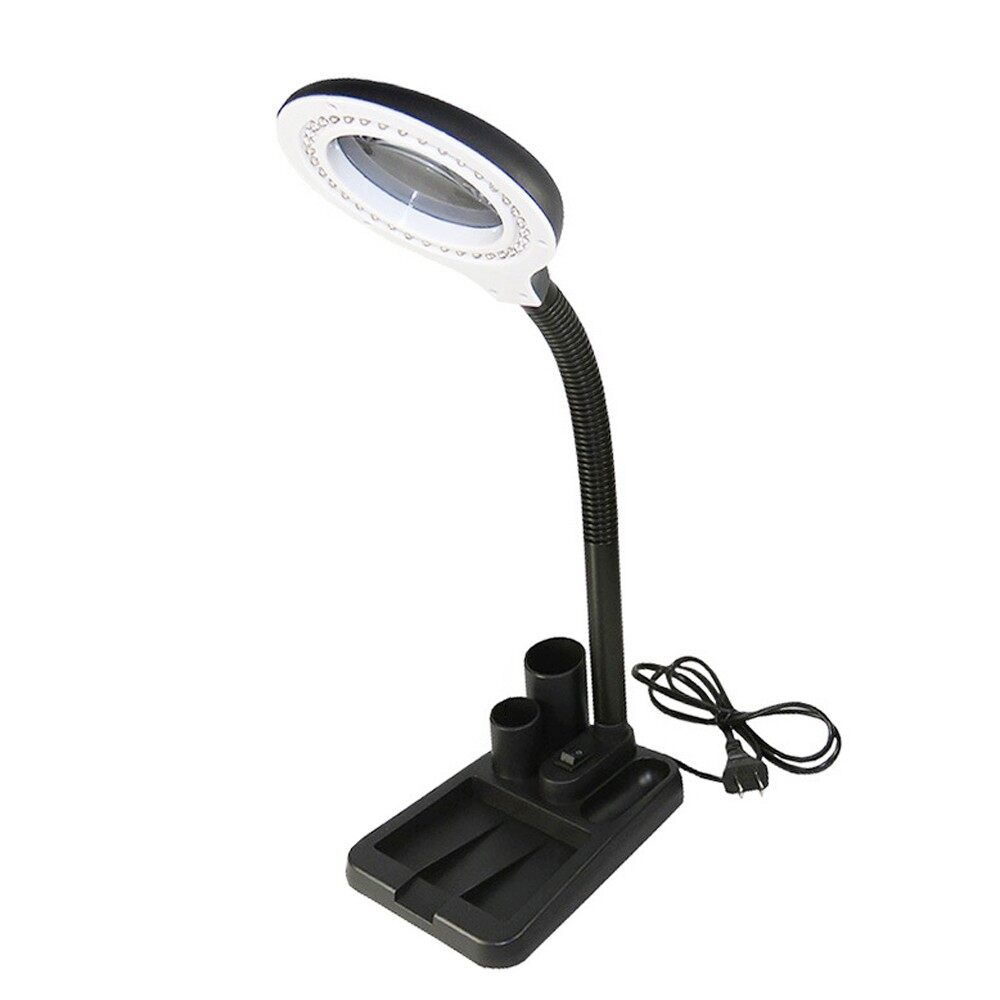 Table Lamps - AC220V 6W 40 LED 5X/10X Magnifier Glass with Gadget Storage Design Desk Lamp Bes - Lighting