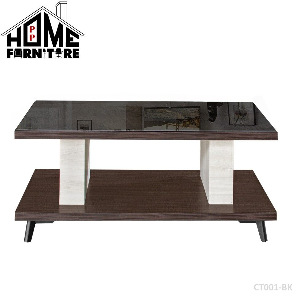 PP HOME Two Layer Coffee table/ Console table/ Display table/ Deco table/ Living room table/ Side table/ Living room table/  Dua lapisan meja kopi/ Meja makan/ Meja konsol/ Meja hiasan/Meja kopi 双层咖啡桌/餐桌 WITH glass gelas 玻璃CT001-BK